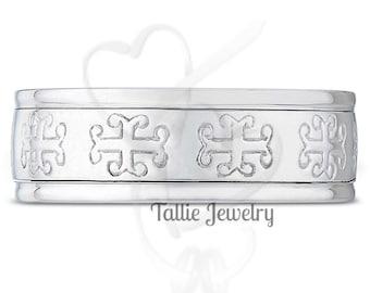 Celtic Knot Mens Wedding Bands, Irish Celtic Wedding Rings, 8mm 14K 18K White Gold Wedding Bands, Mens Celtic Wedding Rings
