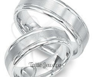 6mm 10K 14K 18K White Gold His and Hers Wedding Bands, Matching Wedding Rings Set. Couple Wedding Bands, Rings for Men, Rings for Women