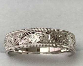 Platinum Hand Engraved Mens Wedding Bands , Hand Engraved Platinum Mens  Wedding Rings, His and Hers Wedding Bands, Platinum Wedding Band