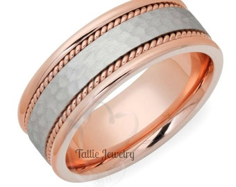 Two Tone Gold Wedding Bands, 14K White and Rose Gold Mens Wedding Ring, Braided Mens Wedding Band, Two Tone Gold Wedding Rings