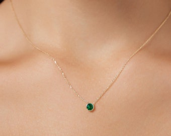 Emerald Necklace, 14K Gold Solitaire Necklace, 4mm  0.30 Carat Bezel Setting Emerald Necklace, May Birthstone, Green Emerald, Gift for Her