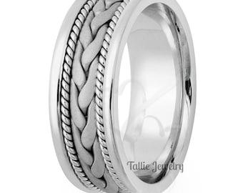 Mens White Gold Wedding Bands, Handmade Rope Braided Mens Wedding Rings, 8mm 10K 14K 18K Solid White Gold Mens Wedding Bands