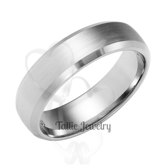 His /& Hers Wedding Rings 10K 14K 18K White Gold Mens Wedding Bands Matching Wedding Bands Beveled Edge Hammered Finish Mens Wedding Rings