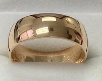 8mm 10K 14K 18K Solid Yellow Gold Mens Wedding Bands,  Dome Shiny Finish Mens Wedding Rings, Plain Wedding Bands