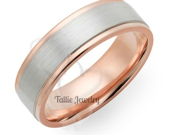 Two Tone Gold Wedding Bands, 6mm,10K,14K,18K White and Rose Gold Mens Wedding Rings, Two Tone Gold Mens Wedding Bands, Mens Wedding Rings