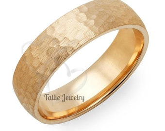 Mens Yellow Gold Wedding Bands, 6mm 10K 14K 18K Solid Gold Mens Wedding Ring, Hammered Finish Mens Wedding Band