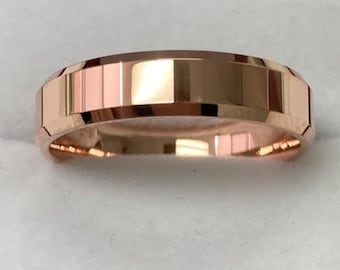 Beveled Edge Mens Wedding Bands, Shiny Finish Mens Wedding Rings, 5mm 14K Solid Rose Gold  Wedding Bands, His and Hers Wedding Rings