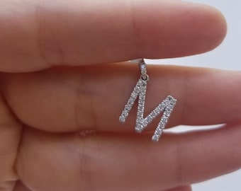 Diamond Initial Necklace / 14K White Gold Diamond Letter Necklace / 0.58 Carat Diamond Initial Pendant  / Letter M Necklace