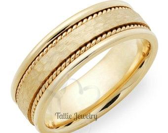 Hammered Finish Mens Wedding Band, 7mm,10K,14K,18K Solid Yellow Gold Braided Mens Wedding Ring
