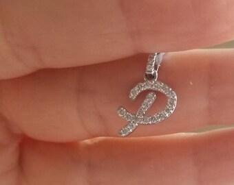 14K White Gold Diamond Initial Necklace / Diamond Letter Necklace / 0.43 Carat Diamond Initial Pendant  / 14K Gold Script Letter P Necklace