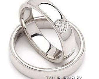 His & Hers Wedding Rings, Matching Wedding Bands, Mens Womens Diamond Wedding Rings Set, 10K 14K 18K Solid White Gold Wedding Bands
