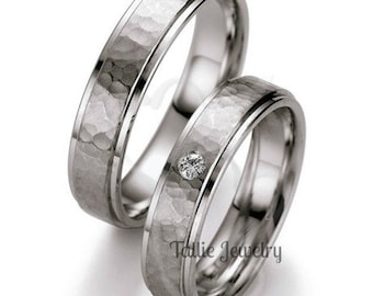 His & Hers Diamond Wedding Bands, Matching Wedding Rings Set ,10K 14K 18K Solid White Gold Hammered Finish His and Hers Wedding Rings
