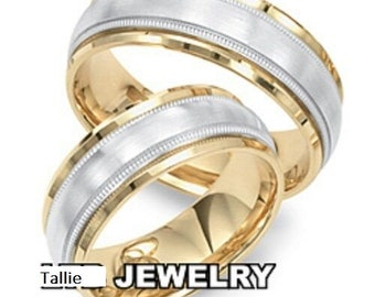 Platinum His and Hers Wedding Rings, Matching Wedding Bands Set, Platinum Wedding Rings ,18K Solid Yellow Gold and Platinum Wedding Bands