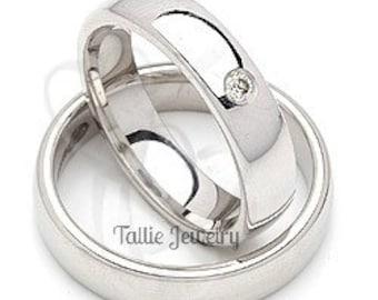 Platinum His & Hers Wedding Rings, Platinum Matching Wedding Bands Set , Platinum Diamond Wedding Rings, Platinum Wedding Bands