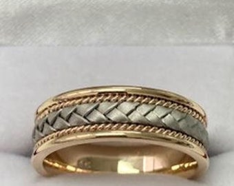 Two Tone Mens Wedding Bands, Handmade Braided Mens Wedding Rings, 7mm 10K 14K 18K White and Yellow Gold Wedding Bands,  Two Tone Mens Ring
