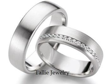 14K White Gold His & Hers Wedding Bands, Matching Wedding Rings Set, Diamond Eternity Wedding Bands, 10K 14K 18K  White Gold Wedding Bands