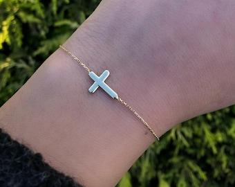 Cross Bracelet, 14K Gold Cross Bracelet, Sideways Cross Bracelet, Dainty Cross Bracelet, Gold Cross Necklace ,Gifts for Her