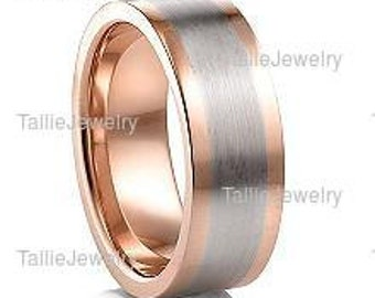 Two Tone Gold Wedding Bands, 7mm 14K Solid White and Rose Gold Mens Wedding Rings, Two Tone Gold Mens Wedding Bands, Mens Wedding Rings