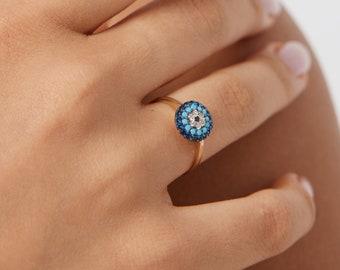 14K Gold Evil Eye Ring, Turquoise Evil Eye Ring, Gold Evil Eye Ring, Nazar Ring, Turquoise Ring, Good Luck Ring,14k Solid Gold Evil Eye