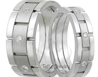 His & Hers Platinum Diamond Wedding Rings, Platinum Matching Wedding Bands Set , Platinum Diamond Wedding Rings
