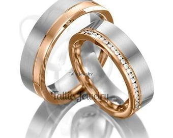His & Hers Diamond Wedding Bands  Matching Wedding Rings Set ,14K White and Rose Gold Diamond Wedding Bands, Diamond Eternity Wedding Rings