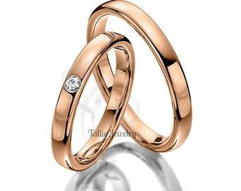 His & Hers Wedding Bands, Matching Wedding Rings Set, 10K 14K 18K Solid Rose Gold Wedding Bands, Mens Womens Diamond Wedding Rings