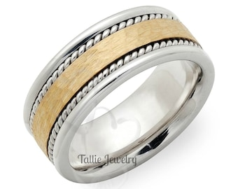 Hammered Finish Two Tone Gold Wedding Rings, White and Yellow Gold Mens Wedding Band, Braided Mens Wedding Ring,T wo Tone Gold Wedding Bands