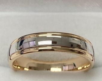 18K Yellow Gold & Platinum Wedding Band, Platinum Mens Wedding Rings, Shiny Finish Platinum Mens Wedding Bands, Two Tone Gold Wedding Bands