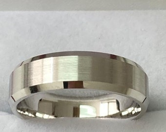 Mens White Gold Wedding Bands, Satin Finish Beveled Edge Mens Wedding Rings, 6mm 10K 14K 18K White Gold Mens Wedding Bands, Rings for Men