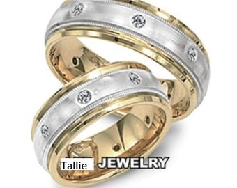 His and Hers Platinum Diamond Wedding Rings, Matching Wedding Bands Set , 18K Yellow Gold and Platinum Diamond Wedding Bands