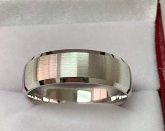 White Gold Mens Wedding Bands,  Satin Finish Beveled Edge Mens Wedding Rings, 7mm 10K 14K 18K Solid White Gold Wedding Bands, Rings for Men