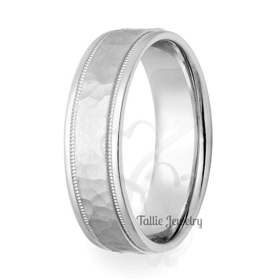 Sterling Silver 6mm Hammered Milgrain Band Wedding Ring