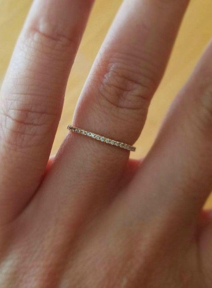 Diamond Eternity Wedding Rings 14K Gold 1.3mm Stackable Thin Diamond Wedding Bands Diamond Eternity Wedding Bands Diamond Eternity Rings
