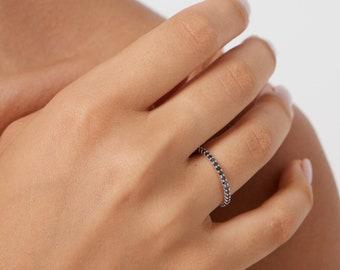 Black Diamond Eternity Ring, Black Diamond Eternity Band, 1.9mm Thin 14K White Gold Diamond Wedding Rings ,Stacking Ring, Black Diamond Ring