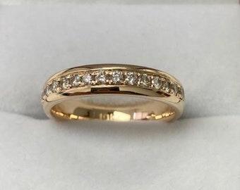 14K Solid  Yellow Gold Womens Wedding Bands, Diamond Wedding Rings ,Diamond Wedding Bands , Rings for Women, Diamond Eternity Wedding Ring