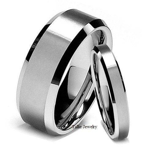 4mm 10K 14K 18K Gold Wedding Rings Satin Finish Beveled Edge Mens or Womens Wedding Bands White Gold Wedding Bands Matching Wedding Rings