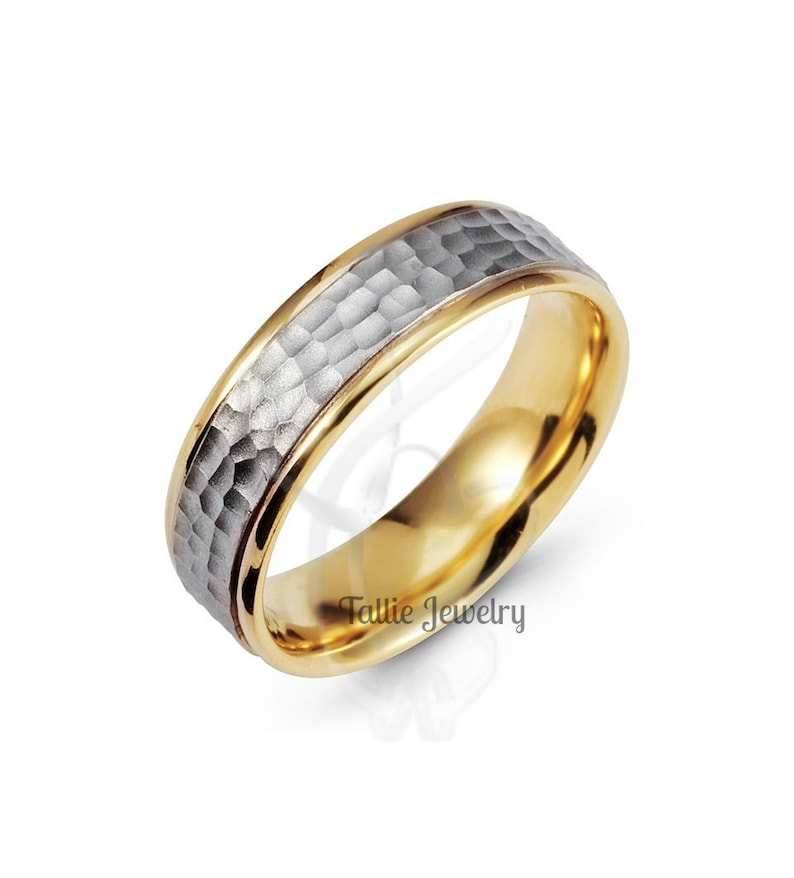 Two Tone Gold Wedding Bands,6mm 14K White and Yellow Gold Hammered Finish Mens Wedding Rings,Matching Wedding Bands,His /& Hers Wedding Rings