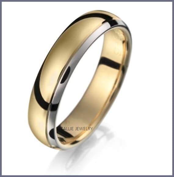 Mens Wedding Rings 5mm,10K,14K,18K White and Rose Gold Mens Wedding Rings Two Tone Gold Mens Wedding Bands Two Tone Gold Wedding Bands