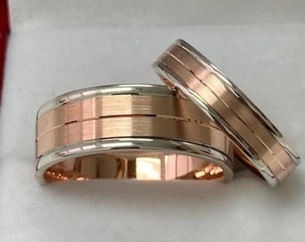 Two Tone Gold His and Hers Wedding Bands, Matching Wedding Rings Set, 14K White and Rose Gold Wedding Bands, Two Tone Gold Wedding Rings