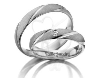 His & Hers Wedding Bands, Matching Wedding Rings Set , 10K 14K 18K Solid White Gold Diamond Wedding Bands, Couple Wedding Rings