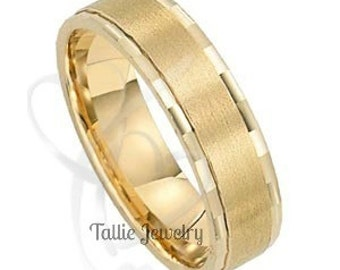Mens Yellow Gold Wedding Bands, 6mm 10K 14K 18K Solid Gold Mens Wedding Ring,  Satin Finish Mens Wedding Band