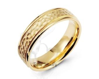 Mens Yellow Gold Wedding Band, Hammered Finish Mens Wedding Ring, 6mm 10K 14K 18K Solid Yellow Gold Wedding Bands