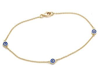 Evil Eye Bracelet, 14K Solid Yellow Gold Evil Eye Bracelet, Dainty Evil Eye Bracelet ,Protection Bracelet, Minimalist Gold Evil Eye Bracelet