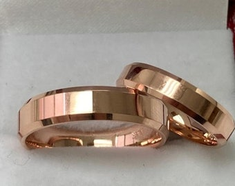 His and Hers Wedding Bands, Matching Wedding Ring Set ,Couple Wedding Bands, 14K Solid Rose Gold Wedding Bands