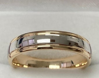Mens Wedding Band, Mens Wedding Ring, 5mm 10K 14K 18K White and Yellow Gold Wedding Bands, Rings for Men & Women,Two Tone Gold Wedding Bands