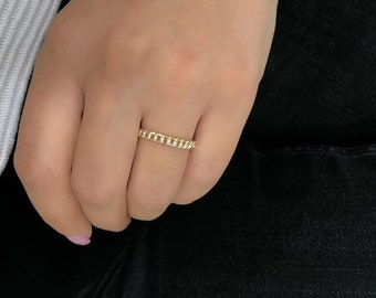 14k Gold Chain Ring, Sold Yellow Gold Chain Ring, Minimalist Chain Ring, Stacking Ring, Promise Ring, Rings for Women, Gifts for Her