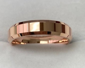 4mm 14K Solid Rose Gold Wedding Bands, Shiny Finish Beveled Edge Mens and Womens Wedding Rings, Rings for Men , Rings for Women