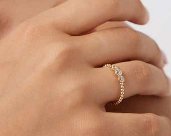 14K Solid Yellow Gold Solitaire Ring,  Diamond CZ Solitaire Ring, Diamond Trio Solitaire Ring, Engagement Ring, Twisted Ring ,Stacking Ring