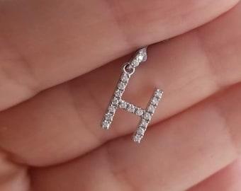 Diamond Initial Necklace / 14K White Gold Diamond Letter Necklace / 0.34 Carat Diamond Initial Pendant  / Letter H Necklace