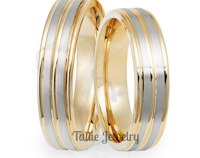 Featured listing image: His & Hers Wedding Bands, Matching Wedding Rings Set, 10K 14K 18K White and Yellow Gold Wedding Bands, Two Tone Gold Wedding Rings